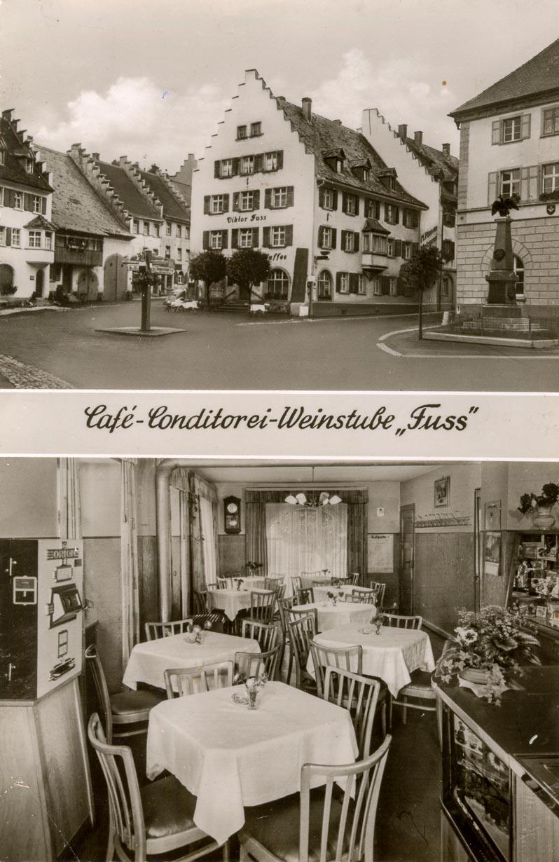Ansichtskarte vom Café Fuss, ca. 1955-1958
