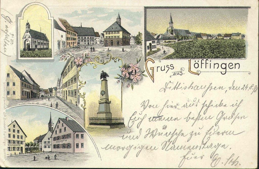 Mehrbildkarte »Gruß aus Löffingen« mit sechs Ansichten, ca. 1896-1900