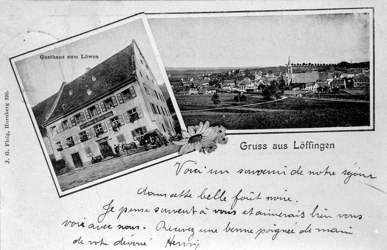 Mehrbildkarte mit Gasthaus »zum Löwen« und Gesamtansicht, ca. 1901-1903