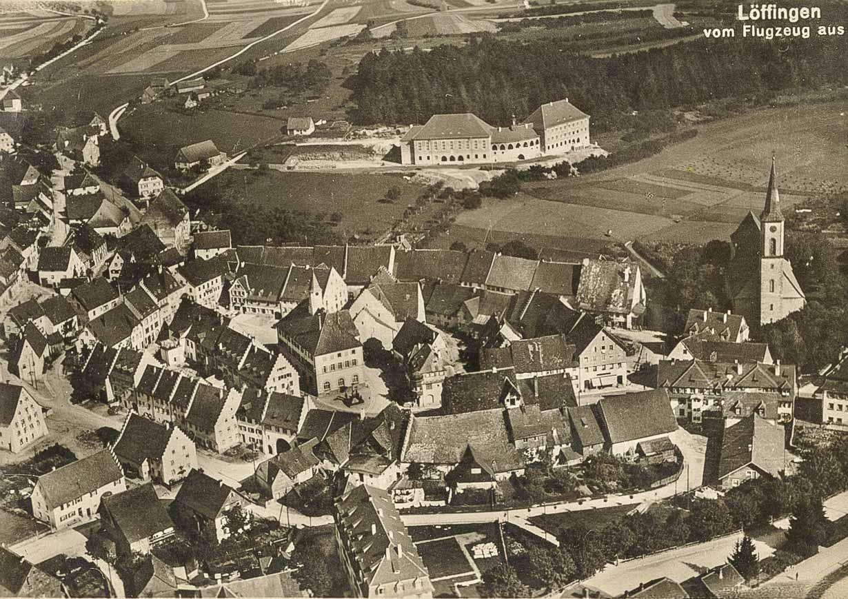 Luftaufnahme vom Städtchen, ca. 1925-1929