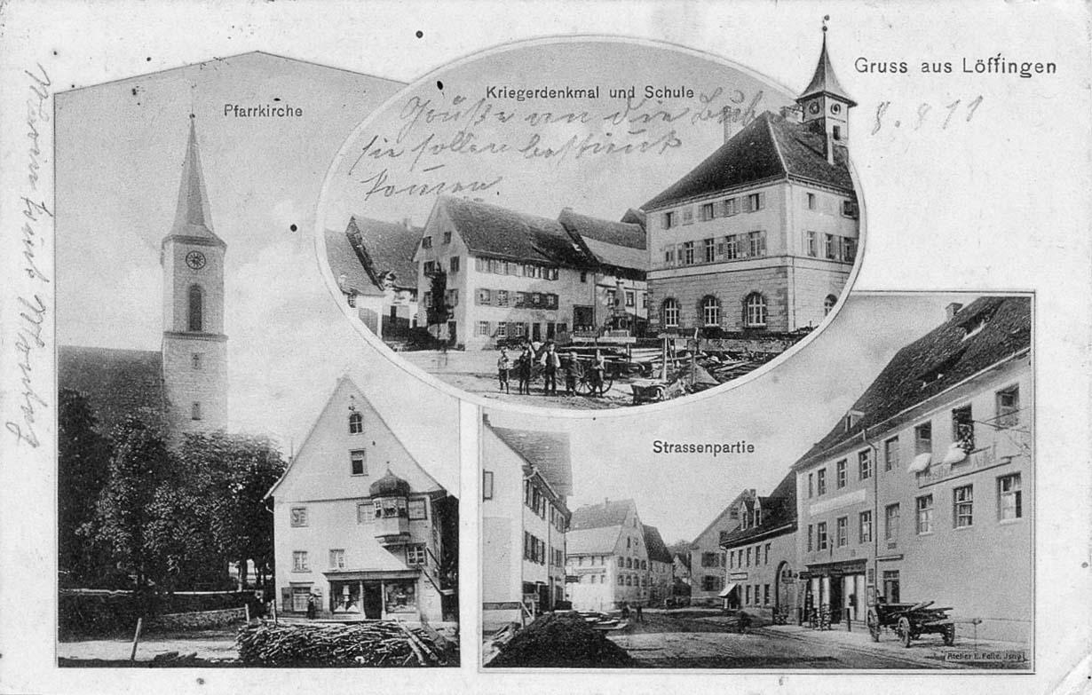 Mehrbildkarte »Gruß aus Löffingen« mit drei Ansichten, ca. 1910/11