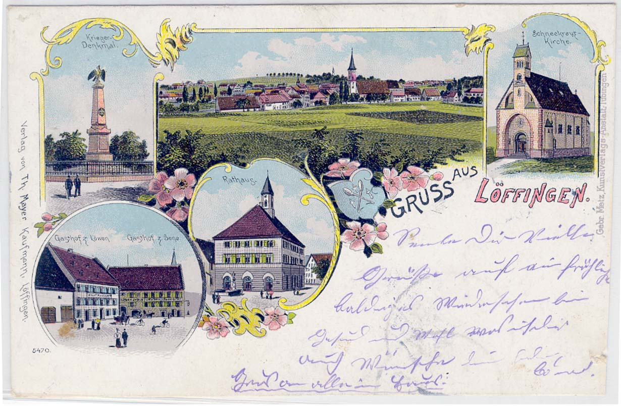 Mehrbildkarte »Gruß aus Löffingen«, ca. 1896-1900