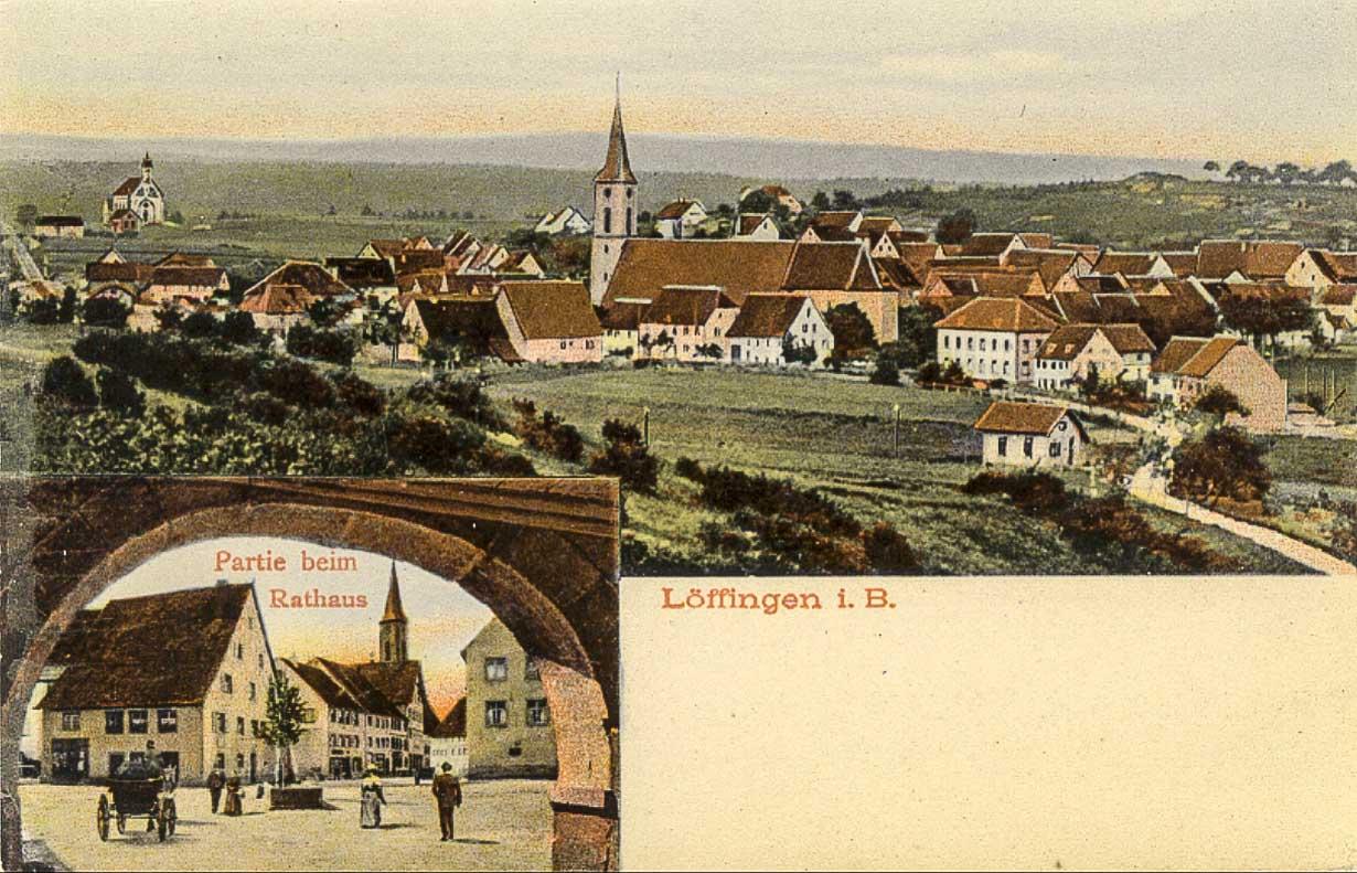 Mehrbildkarte »Löffingen i.B.« mit zwei Ansichten, 1906