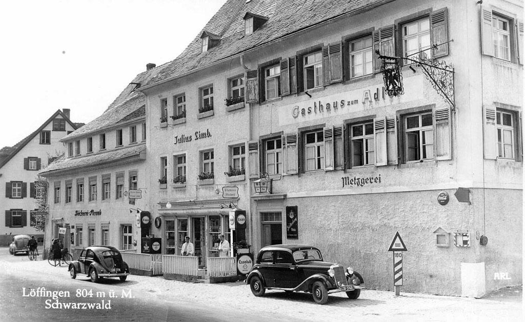 Ansichtskarte vom Gasthaus »Adler« und Friseurgeschäft Limb, ca. 1945-1954