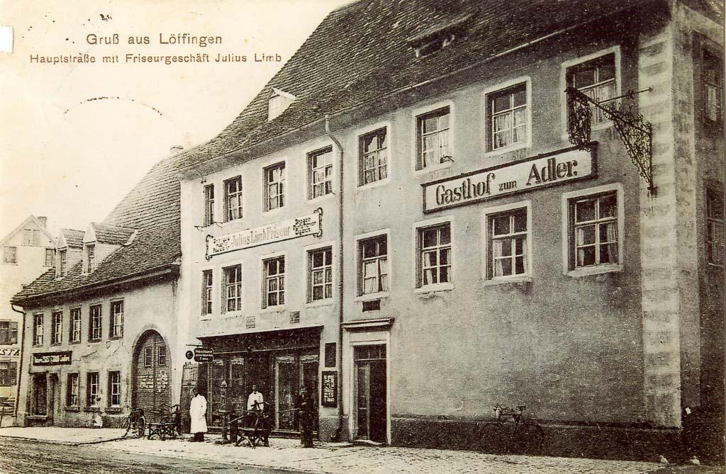 Gasthaus »Adler« und Friseurgeschäft Limb in der Unteren Hauptstraße, ca. 1907-1914