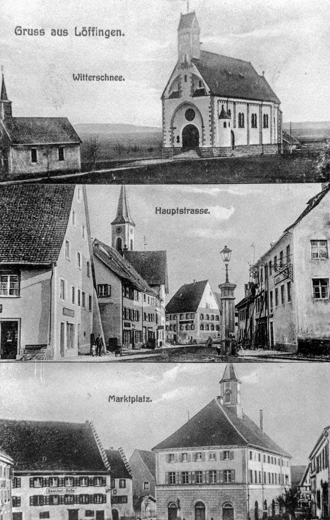 Mehrbild-Postkarte mit drei Stadtansichten, ca. 1907-1909