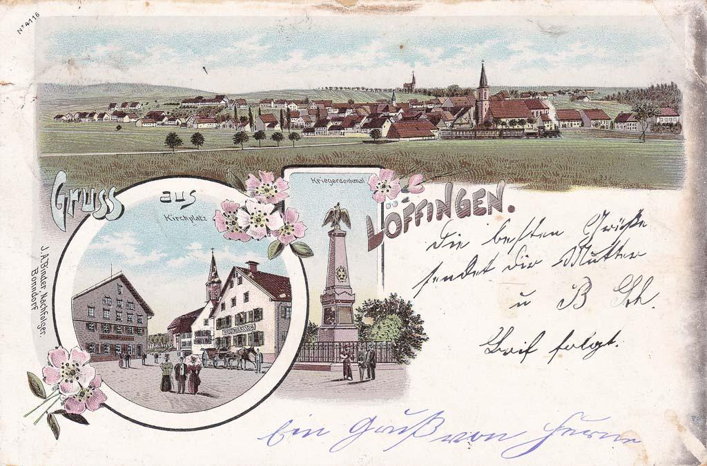 Mehrbildkarte »Gruß aus Löffingen« mit drei Ansichten, ca. 1899