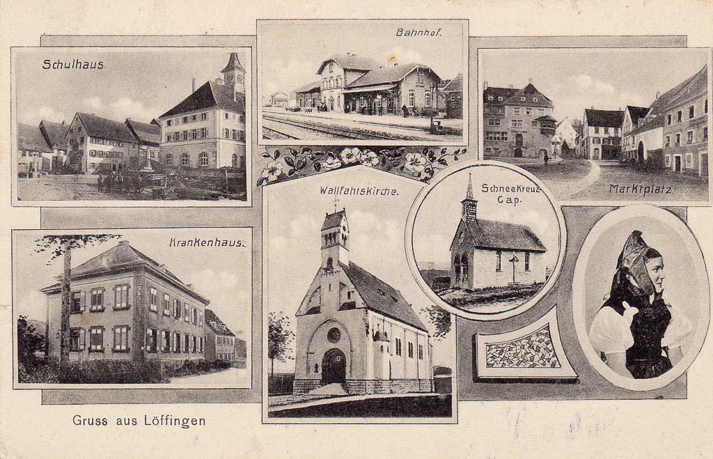 Mehrbildkarte »Gruß aus Löffingen« mit sieben Ansichten, ca. 1909