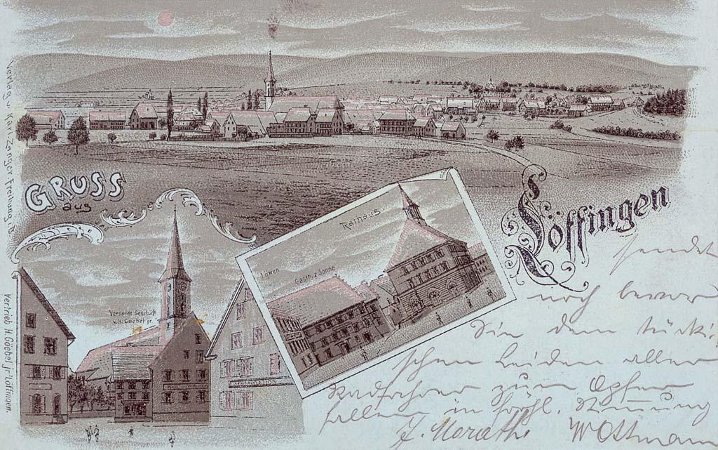 Mondscheinkarte »Gruß aus Löffingen« mit drei Ansichten, ca. 1898