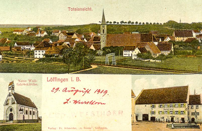 Mehrbildkarte mit drei Ansichten, ca. 1906