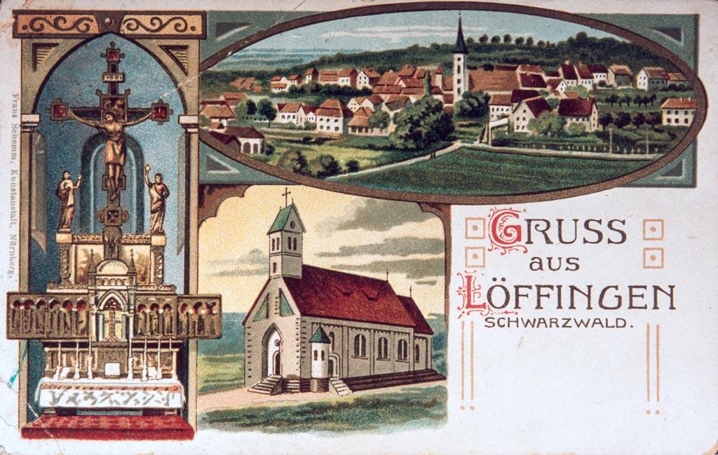 Mehrbildkarte »Gruß aus Löffingen«, ca. 1900