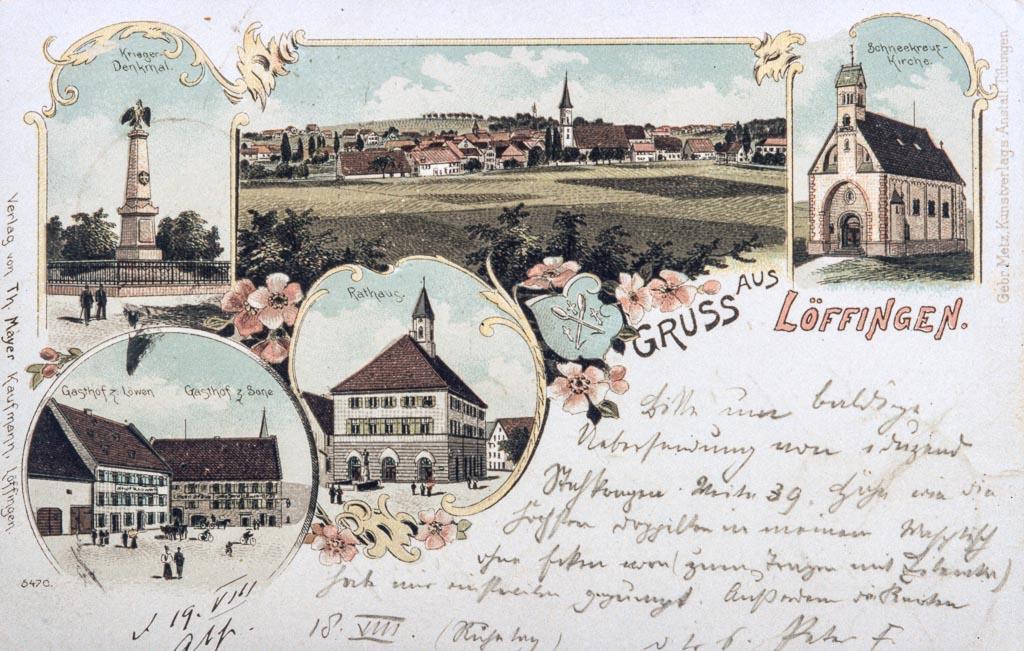 Mehrbildkarte »Gruß aus Löffingen« mit fünf Ansichten, ca. 1898