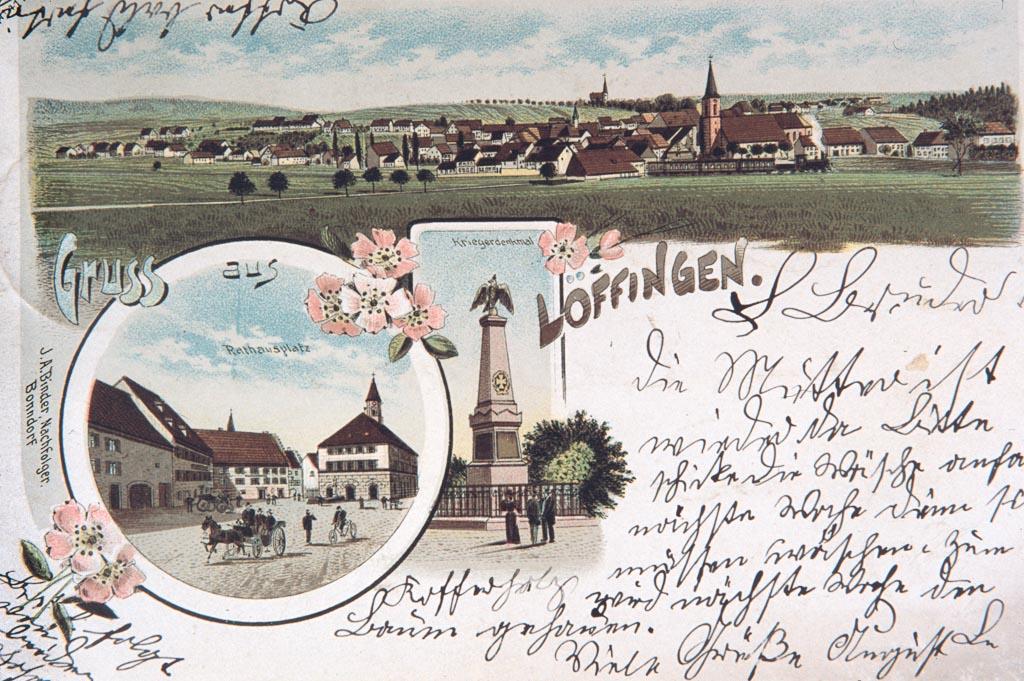 Mehrbildkarte »Gruß aus Löffingen« mit drei Ansichten, ca. 1895-1900