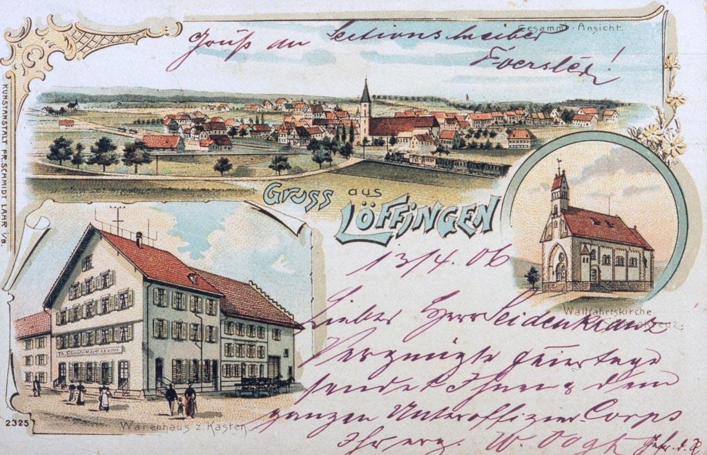 Mehrbildkarte »Gruß aus Löffingen« mit drei Ansichten, ca. 1900-1905