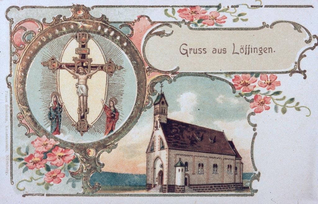 Postkarte Gruß aus Löffingen mit Witterschneekirche, ca. 1900