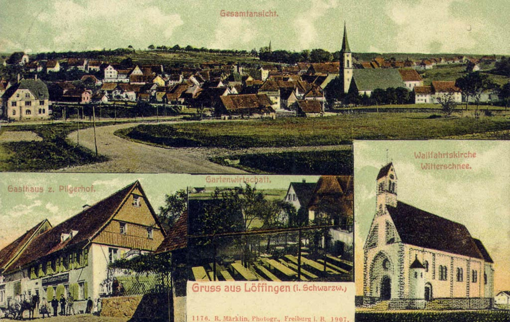 Mehrbildkarte mit vier Ansichten, Löffingen-Schneekreuz-Pilgerhof, 1907