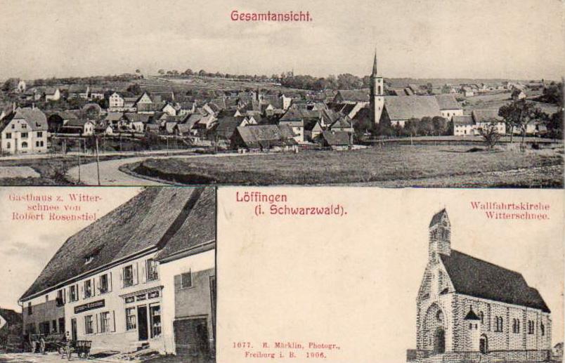 Mehrbildkarte mit Gesamtansicht Löffingen, Schneekreuz und Witterschneegaststätte, 1908