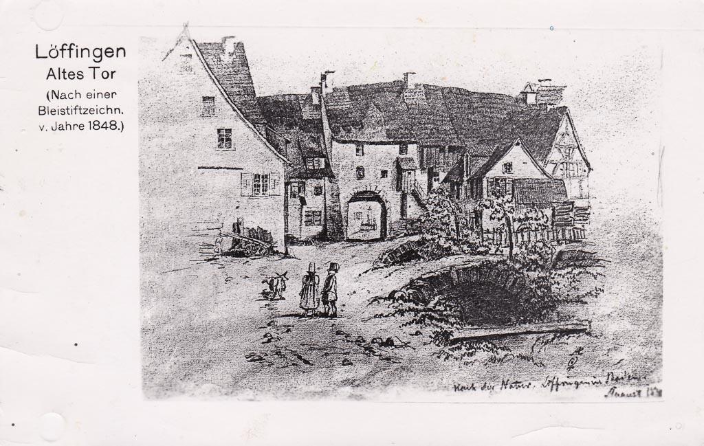 Rückseite vom Mailänder Tor, Bleistiftzeichnung, 1848