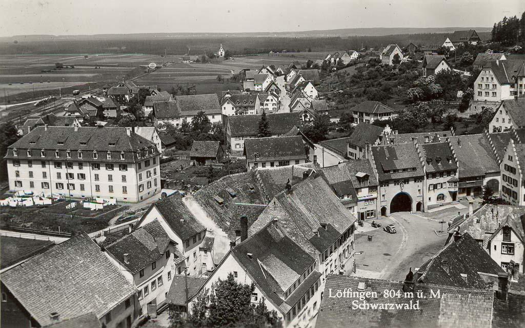 Blick vom Kirchturm in Richtung Maienland, ca. 1950-1954