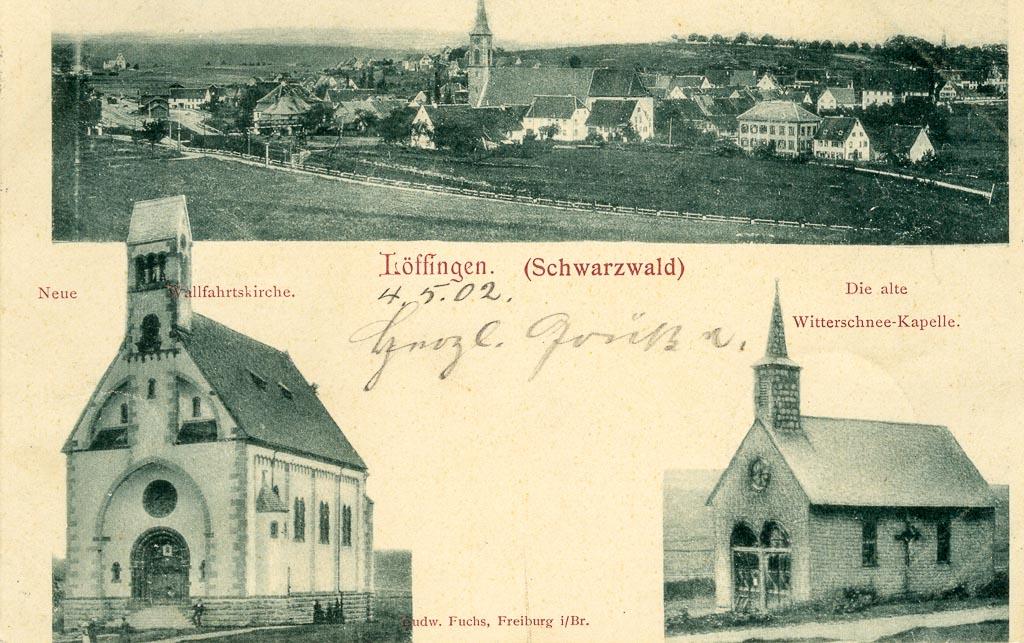 Mehrbildpostkarte mit Witterschneekirche und -kapelle sowie Gesamtansicht, 1901/02
