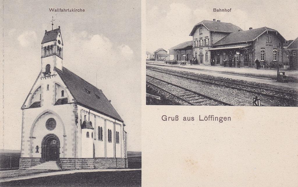 Mehrbildkarte mit Witterschneekirche und Bahnhof, ca. 1905