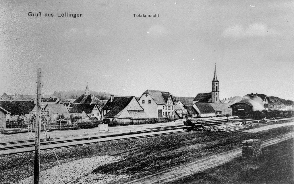 Ansichtskarte »Gruß aus Löffingen« mit Blick zur Bahnhofstraße, ca. 1910