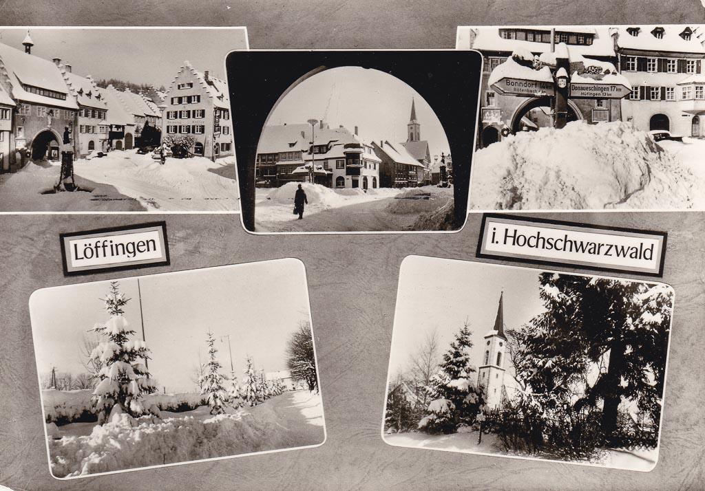 Mehrbildkarte mit fünf Wintermotiven, ca. 1965