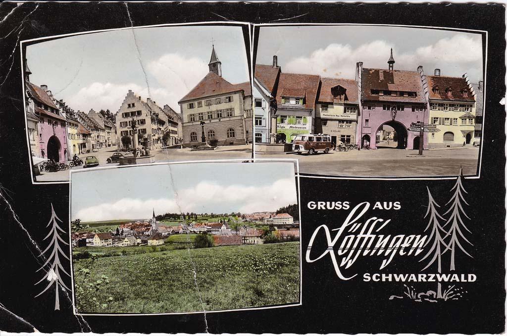 Colorierte Mehrbildpostkarte mit drei Ansichten, ca. 1960-1962