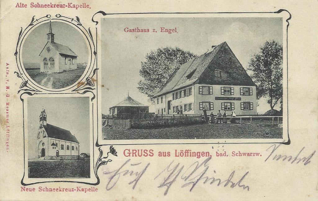 Mehrbildkarte mit Gasthaus »Engel« und Witterschneekirche, ca. 1902