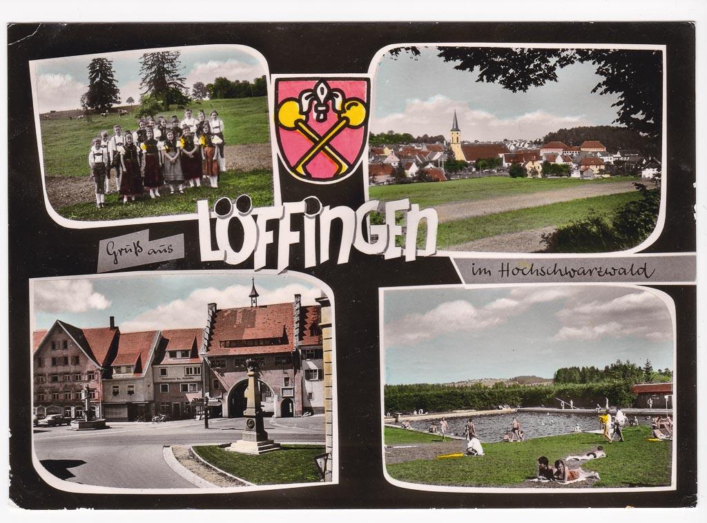 Colorierte Mehrbildkarte »Gruß aus Löffingen«, ca. 1960-1965