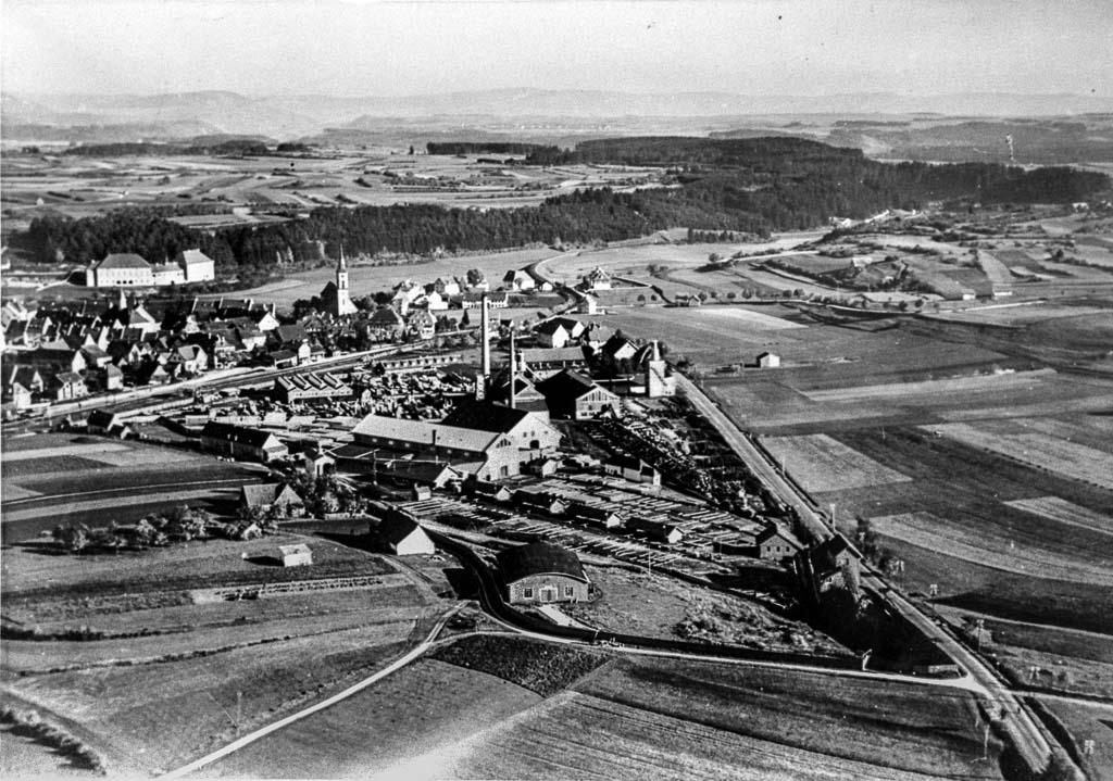 Luftbild mit Sägewerk Benz, ca. 1935