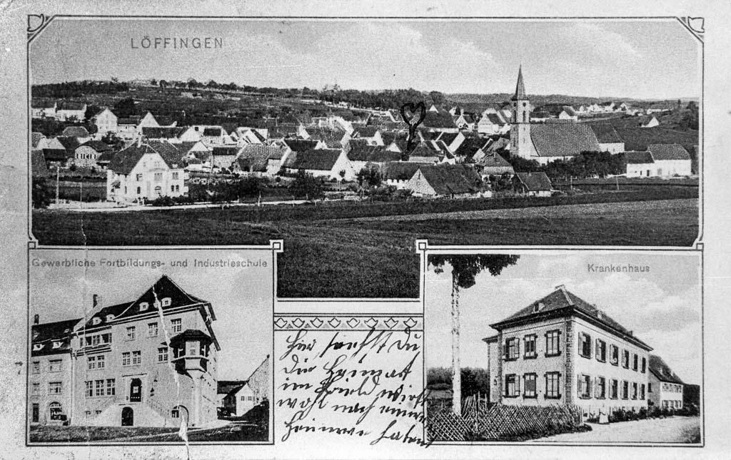 Mehrbildkarte mit drei Ansichten, ca. 1909