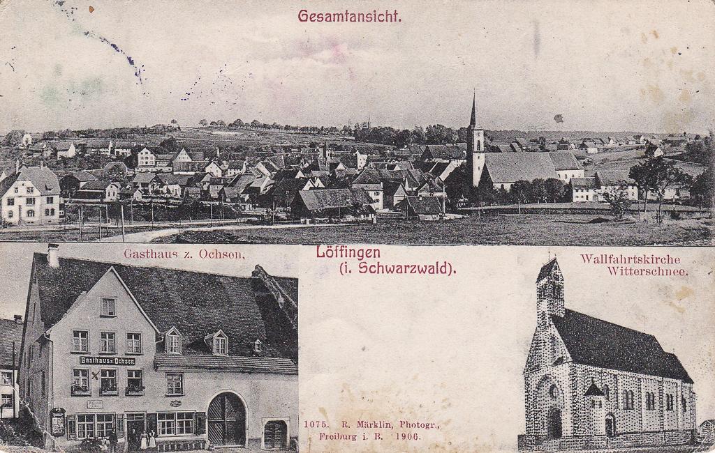 Mehrbildkarte mit drei Ansichten, 1906