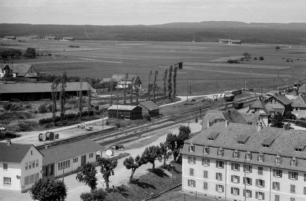 Blick vom Kirchturm in Richtung Bahnhof und Stettholz, ca. 1958-1960
