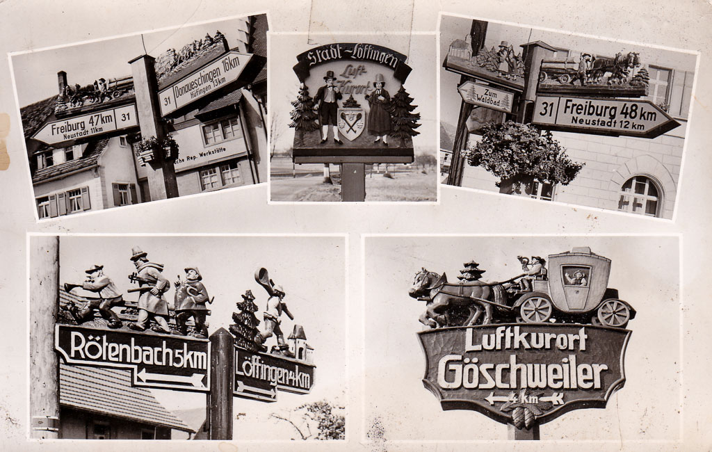 Mehrbildkarte mit 5 Ansichten von Straßenschildern, ca. 1955