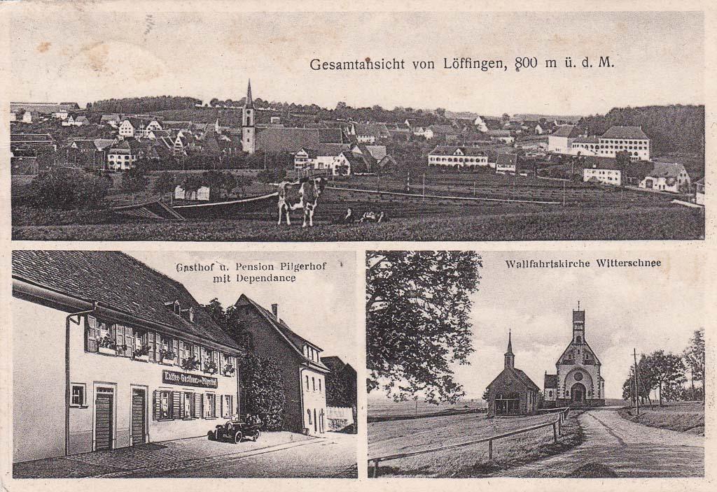 Mehrbildkarte mit Gasthaus »Pilgerhof« und Witterschneekirche, ca. 1930