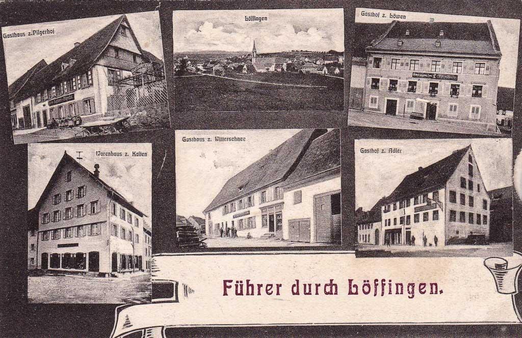 Mehrbildkarte »Führer durch Löffingen« mit sechs Ansichten, ca. 1900-1910