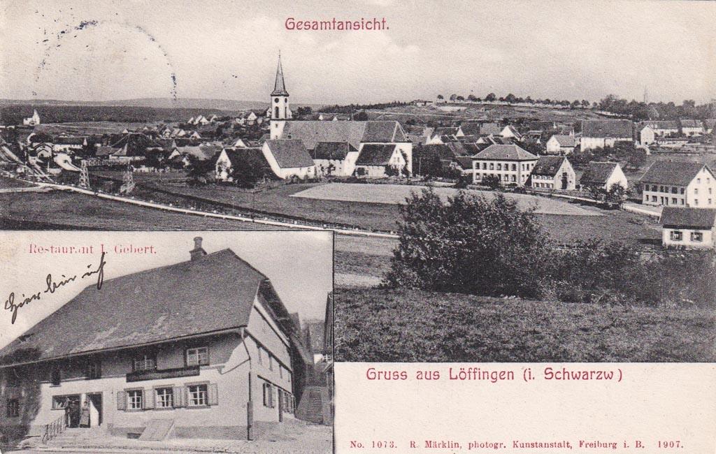 Mehrbildkarte mit Gasthaus »Gebert« und Gesamtansicht, 1907
