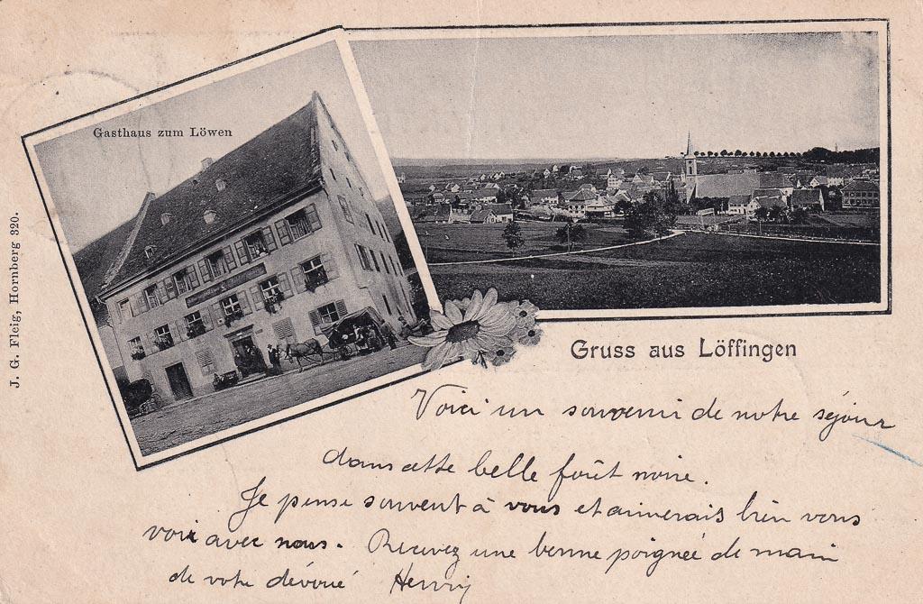 Mehrbildkarte mit Gasthaus »Löwen« und Gesamtansicht, ca. 1901-1903