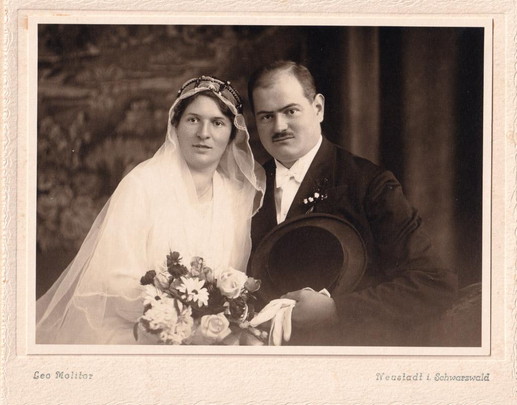 Brautpaar Paul Benitz und Josefine Klaus, 1931